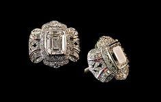Art Deco Platinum Emerald-Cut Diamond Ring