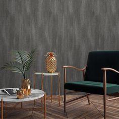 Fabric Plain Wallpaper - Charcoal