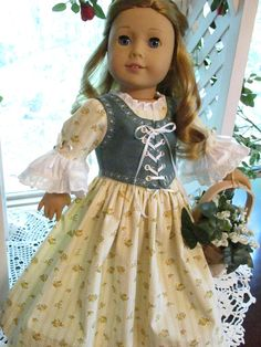 Yellow and Green Colonial Doll Dress or Princess Gown to fit