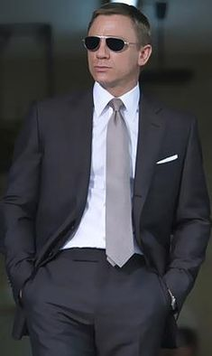 Charcoal suit, silver tie