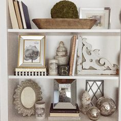 12th and White shelf decorating neutrals with chippy and mixed metals