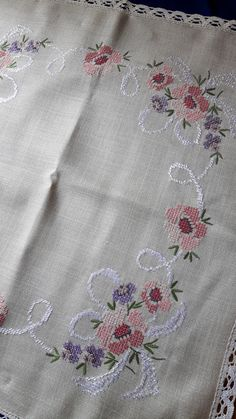 Vintage tablecloth with cross stitch by DoiliesLaceCrafts on Etsy