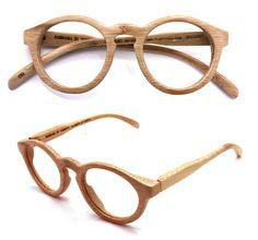 Handmade round vintage bamboo eyeglasses
