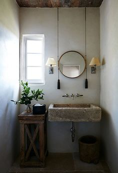 100 Cozy Rustic Farmhouse Bathroom Decor Ideas You Can Easily Copy - Check out this bathroom decor idea with a concrete sink and pulley mirror. diy bathroom 100 Cozy Farmhouse Bathroom Decor Ideas You Can Easily Copy Rustic Bathroom Designs, Rustic Bathroom Decor, Rustic Bathrooms, Bathroom Interior, Small Bathroom, Rustic Decor, Bathroom Ideas, Bathroom Mirrors, Bathroom Cabinets