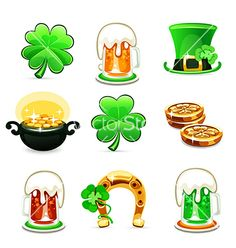 St patricks days icons set on white background vector by Voysla on VectorStock®
