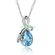 Sky Blue Rhinestone Chain Crystal Teardrop Necklace Pendant Women Lady Jewelry - https://barskydiamonds.com/necklaces/