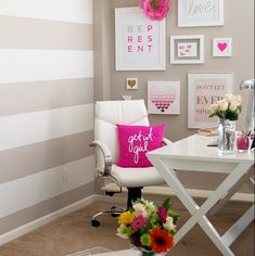 Love the wall colors and white furniture. Maybe softer accents?