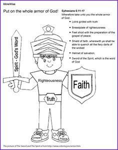 Coloring (The Armor of God, Ephesians) - Kids Korner - BibleWise