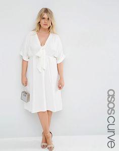 Image 1 ofASOS CURVE Midi Tea Dress with Tie Front