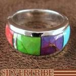 Sterling Silver Multicolor Inlay Ring