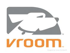 [a] ... a graphic representation of a love triangle between your dog, your car and you... for car care brand, vroom (also: good name).   designed by SF-firm turner duckworth. absolutely everything is fantastic about this mark and everything is considered (note the angles of the type legs/serifs and dog's neck).