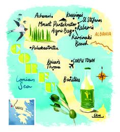 Corfu map by Scott Jessop. August 2013 issue.