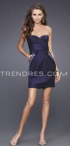 Bridesmaid Dress - Sweetheart Navy Blue Short Bridesmaid Dress with Sequin