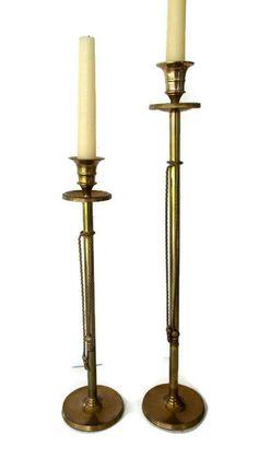 Vintage Hollywood Regency Candlesticks Brass by WeeLambieVintage