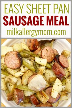 Quick and easy one pan smoked sausage meal recipe at Milk Allergy Mom! Make it for your crew! Egg Free Recipes, Allergy Free Recipes, Whole Food Recipes, Smoked Sausage Recipes, Dinner Ideas, Dinner Recipes, Milk Allergy, Recipe For Mom, Food Allergies