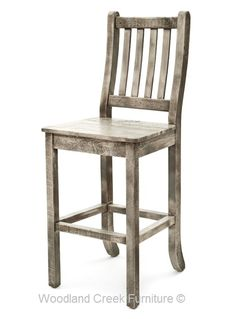 Cottage Bar Stool with Curved Back in Gray Wash Finish