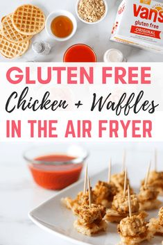 Delicious gluten free chicken and waffles made in the air fryer using a few ingredients. These work well as an appetizer or even a full meal. Sweet and savory dipping sauce on the side. Dairy Free Appetizers, Dairy Free Recipes, Air Fryer Recipes Gluten Free, Instant Pot, Air Frier Recipes, Air Fryer Dinner Recipes, Chicken And Waffles, Gluten Free Chicken, Foods With Gluten
