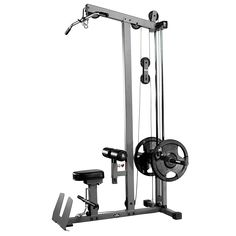 The XMark Lat Pull-down and Low Row Cable Machine targets the upper back, shoulders and arms. The XMark is uses x steel, nylon coated aircraft quality cables, extra-thick Dura craft cushion, a flip-up footplate for use with the low row bar and two Home Gym Garage, Diy Home Gym, Arm Machine, Cable Machine, Home Gym Equipment, No Equipment Workout, Bodybuilder, Lat Pulldown Machine, Gym Setup