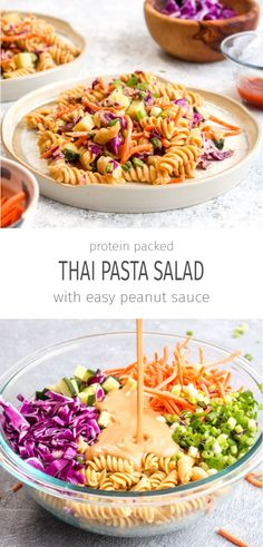 Protein Packed Thai Pasta Salad is a healthy 20 minute dinner recipe. It packs i… Protein Packed Thai Pasta Salad is a healthy 20 minute dinner recipe. It packs in over 18 grams of protein and is full of veggies! Thai Pasta, Thai Noodle Salad, Gluten Free Recipes For Dinner, Gourmet Recipes, Cooking Recipes, Soup Recipes, Dinner Ideas Healthy, Beef Recipes, Veggie Dinner Recipes