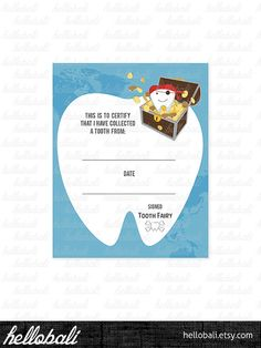 Tooth Fairy Certificate Clip art Boy Scrapbook by HelloBali