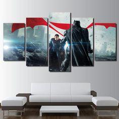 5 Pieces Justice League Paintings Superman VS Batman Canvas Wall Art