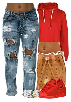 """""""6/2/2016"""" by yeauxbriana ❤ liked on Polyvore featuring MCM and adidas Originals"""