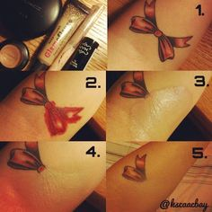If You Need To Conceal a Tattoo, Try this.  What you'll need: Red Lipstick Light Liquid Concealer Your Skin Tone Powder Foundation Fluffy Makeup Brush  1. Cover the entire tattoo with red lipstick 2. Pat it Lightly with the liquid concealer 3. Let dry for five minutes 4. Brush Powder Foundation over it 5. smooth it out with the makeup brush Done