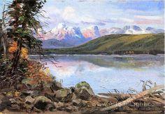 Lake McDonald 1901, Charles Marion Russell oil paintings on ArtSunLight