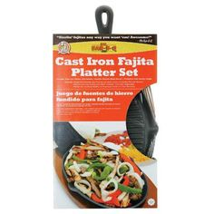 Cast Iron Fajita Platter Set - Mr Bar B Q - 06108X