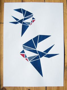 Two Swallows Origami Screen Print