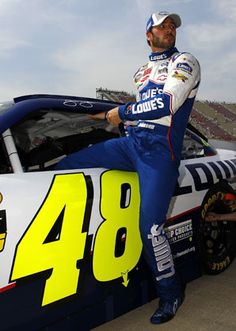 Jimmie Johnson climbing out of his #48 Lowes car