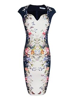 Vfemage Womens Elegant Floral Butterfly Print Casual Party Bodycon Dress