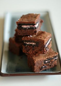Brownie de galletas Oreo (con crema de fresa)
