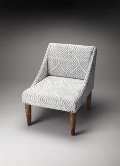 Gilmore Cotton Slipper Accent Chair Gray / White