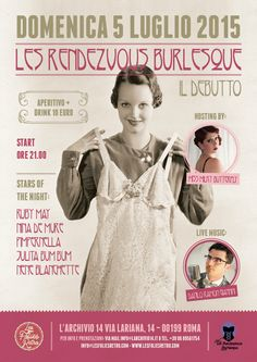 Les Rendezvous Burlesque - Il debutto! - Hosting Milky BUtterfly; singer: Danilo Ramon Giannini - Presso L'Archivio 14 - Roma
