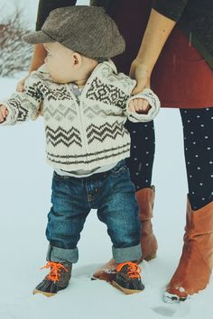Winter style just got adorable! Pair cold weather boots with denim and a seasonal sweater for a functional and cozy look. - The latest in Bohemian Fashion! These literally go viral! Little Boy Fashion, Baby Boy Fashion, Kids Fashion, Winter Fashion, Little Man Style, Little Boys, Boys Style, Toddler Boys, Baby Kids