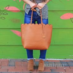 Monogrammed Scalloped Tote Bag