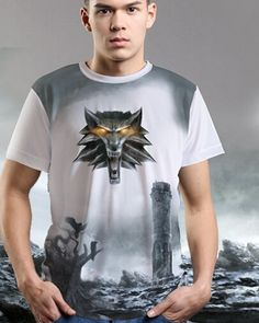 The Witcher Wild Hunt white tshirt for men loose short sleeve tee wolf printed- Wolf T Shirt, The Witcher 3, Loose Shorts, Wild Hunt, Short Sleeve Tee, Tees, Shirts, Printed, Casual