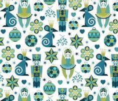 Festive Nutcracker blue on white fabric by cjldesigns on Spoonflower - custom fabric