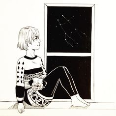 Gemini Constellation n.07  #inktober #inktober2015 #art #dog #animal #black #white #copic #イラスト #犬 #女の子 #window #illustration