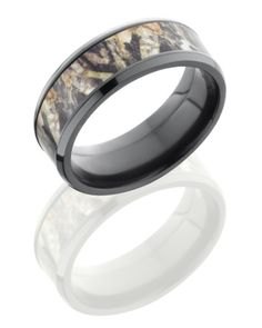 High polished Black Zirconium Mossy Oak Camouflage 8mm Wedding Band with comfort Fit. Lifetime Warranty