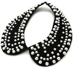 peter pan collar black with pearls - Buscar con Google