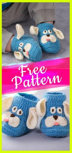 Free Crochet Pattern Baby Booties Puppy #puppy #puppycrochet