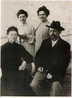 Anton Chekhov with his mother Eugenia, his sister Maria and his wife Olga.