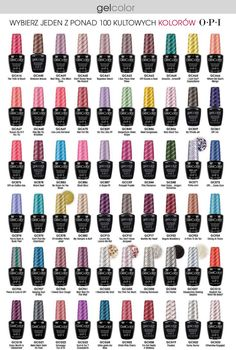 OPI Nail Polish Most Popular Colors Chart