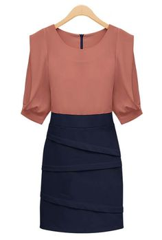 Elitist Theory 3/4 Sleeve Cocktail Shift Dress in Wine/Navy  $65.99