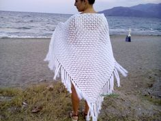 Boho Crochet Shawl Crochet Triangular Wedding Shawl, White Fringe Shawl Cotton Wrap Lace, Châle Hippie Clothing Shawlette Gift For Her Knit - Stola Stricken Crochet Fringe, Knit Lace, Lace Scarf, Cotton Crochet, Crochet Shawls And Wraps, Wedding Shawl, Knitting Accessories, Look At You, Wedding White
