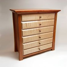 Custom Made Cumaru And Tiger Maple Jewelry Box / Chest