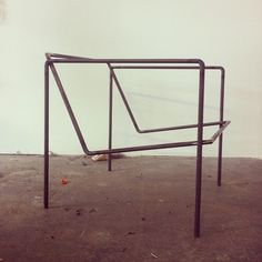 Studio visit with Eric Trine | love these chair frames he's working on.  http://etrine.com/   New idea from Jackie what about using old leather belts as the leather slings.