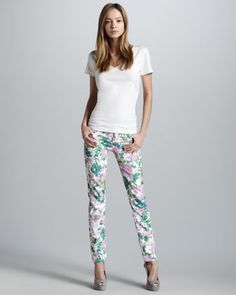 Kauai Floral-Print Skinny Jeans, multicolor tropical floral-print stretch twill. Clean and classic five-pocket style